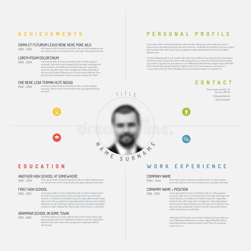 Cv / resume template. Vector minimalist cv / resume template design stock illustration