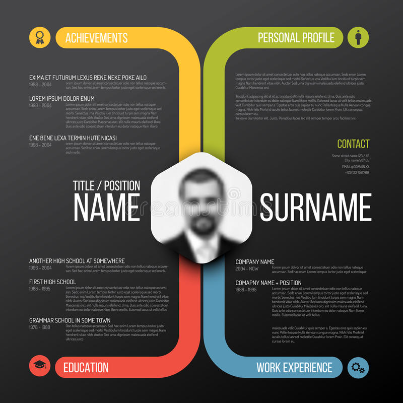 Cv / resume template. Vector minimalist cv / resume template design - dark color version vector illustration