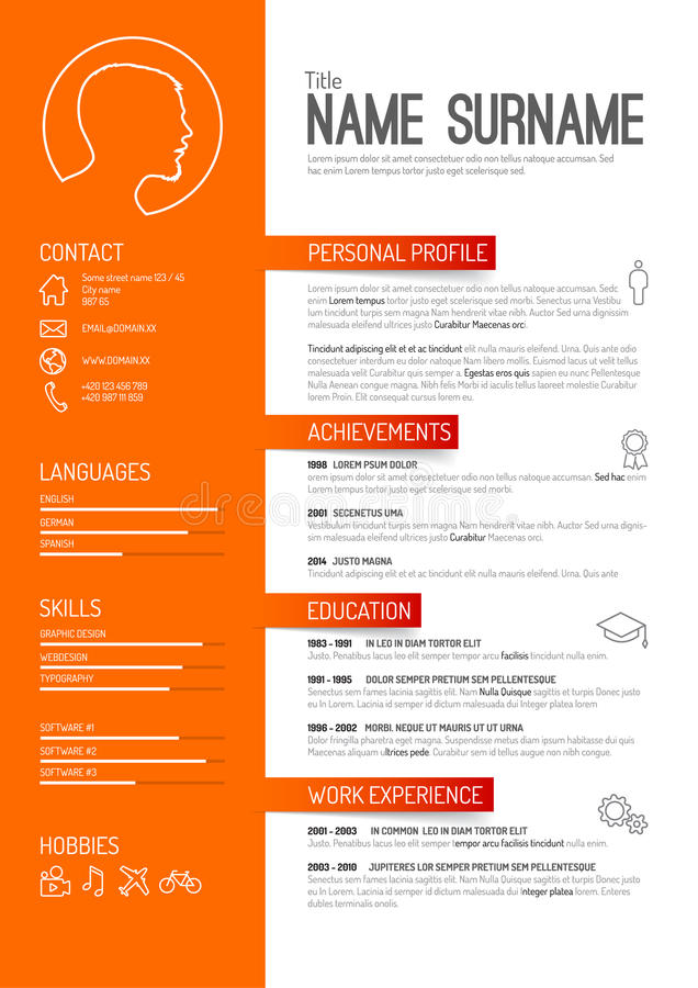 Cv / resume template. Vector minimalist cv / resume template - orange version vector illustration