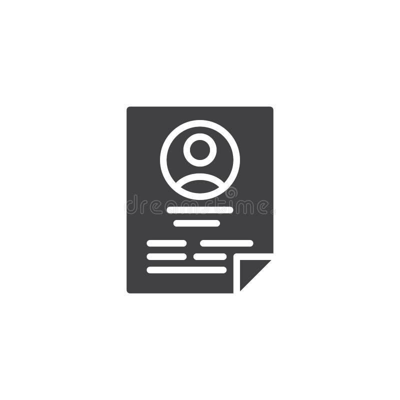 CV resume vector icon stock illustration