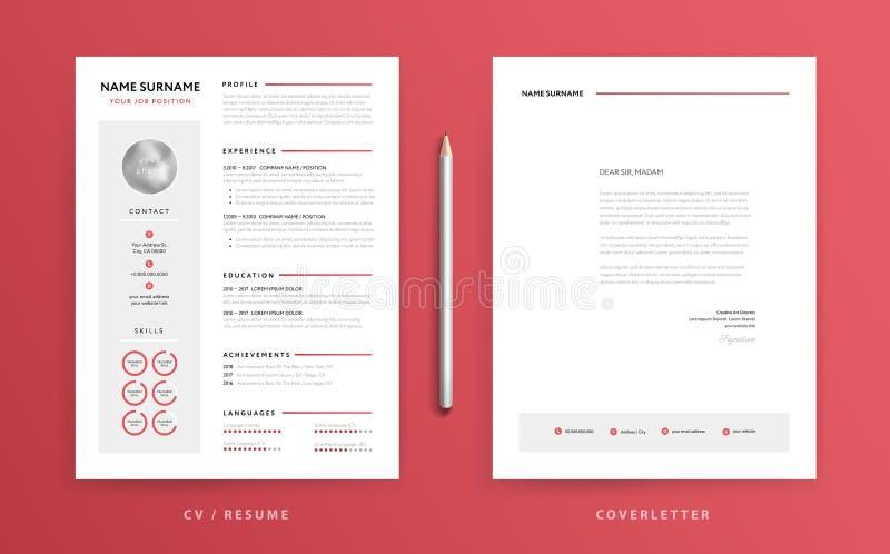 CV/resumo e molde da carta de apresentação Modificação limpa e clara super ilustração stock