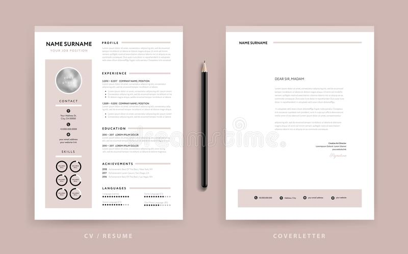 Cv/riassunto e modello eleganti della lettera di presentazione - rosa rosa polveroso royalty illustrazione gratis
