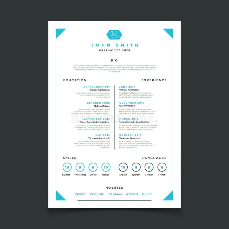 Cv szablon Fachowy życiorysu projekt z biznesowymi szczegółami Program nauczania i najlepszy praca życiorysu wektoru mockup ilustracji