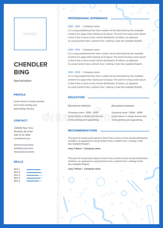 cv template  minimalist resume  web page  job application  skills presentation  stock vector