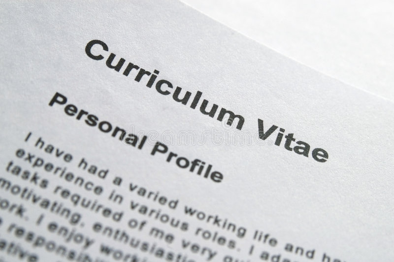CV title page. Close up of curriculum vitae title page