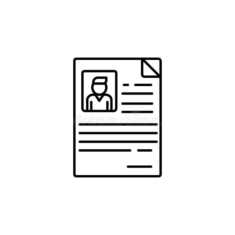 Cv van werknemer Element van het pictogram van het baangesprek voor mobiel concept en Web apps De dunne lijn cv van werknemer kan royalty-vrije illustratie