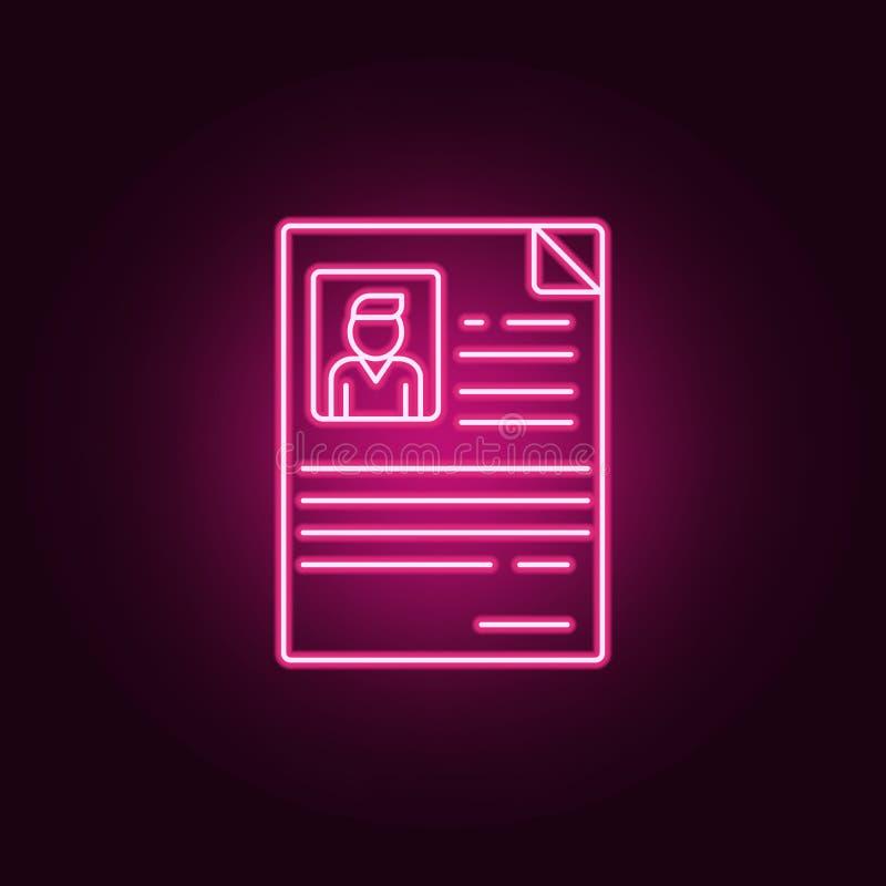 Cv van werknemerspictogram Elementen van gesprek in de pictogrammen van de neonstijl Eenvoudig pictogram voor websites, Webontwer vector illustratie