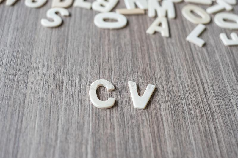 CV word of wooden alphabet letters. Business, job and Idea. Concept stock photography
