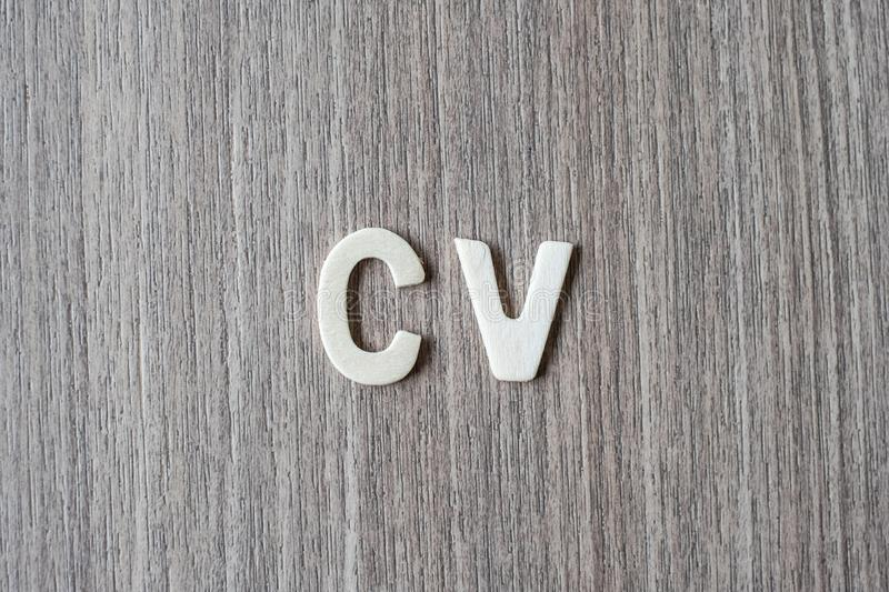 CV word of wooden alphabet letters. Business, job and Idea. Concept stock photo