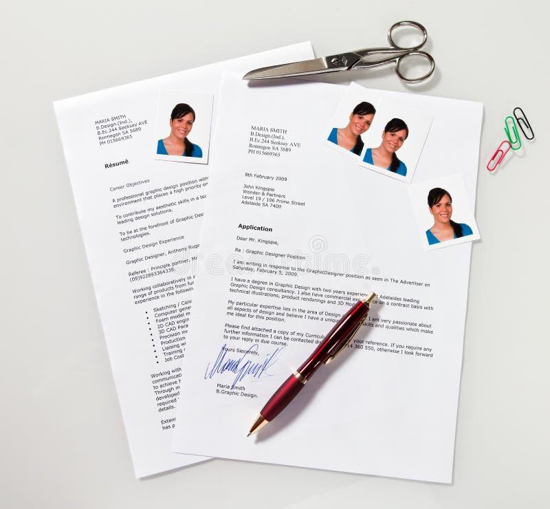 CV y carta de la aplicación en inglés imagenes de archivo