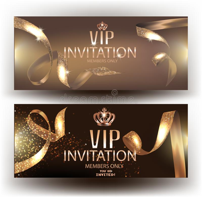 Cvards VIP κομψά πρόσκλησης με τις χρυσές όμορφες κορδέλλες και τα χρυσά εκλεκτής ποιότητας στοιχεία απεικόνιση αποθεμάτων