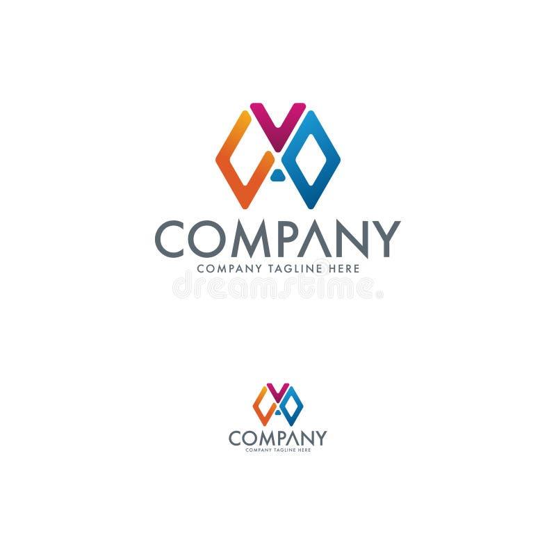 CVO Logo Design abstrakt f?rgrik logo f?r designdiagramillustration stock illustrationer
