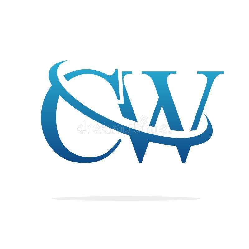 CW het Creatieve vectorart. van het embleemontwerp royalty-vrije illustratie