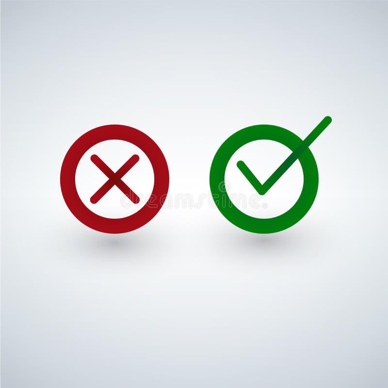 Cwelicha i krzyża znaki Zielony checkmark OK i czerwone X ikony, odizolowywać na białym tle ilustracji