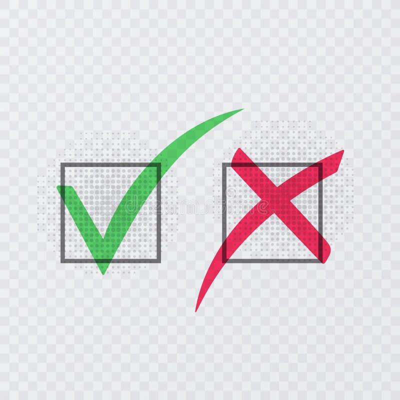 Cwelicha i krzyża znaki Zielony checkmark OK i czerwone X ikony, odizolowywać na przejrzystym tle również zwrócić corel ilustracj ilustracja wektor