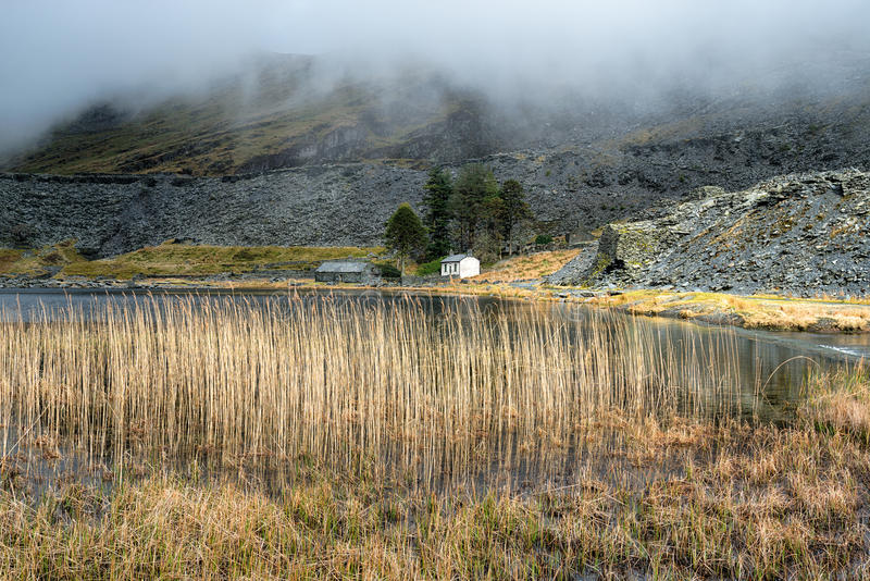 Cwmorthin Slate Quarry. Clouds descend on Cwmorthin Slate Quarry at Tanygrisiau in north Wales royalty free stock photos