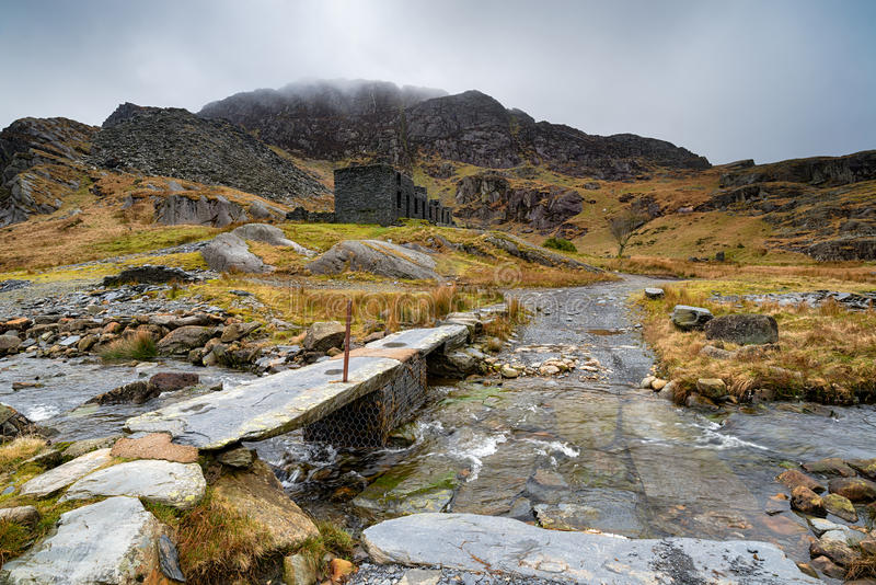 Cwmorthin Slate Quarry. Ruins at the abandoned Cwmorthin Slate Quarry at Tanygrisiau in north Wales stock image