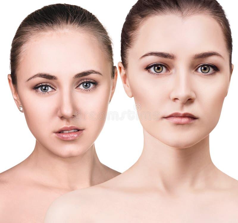 Cwo jonge vrouwen met gezonde duidelijke huid stock foto