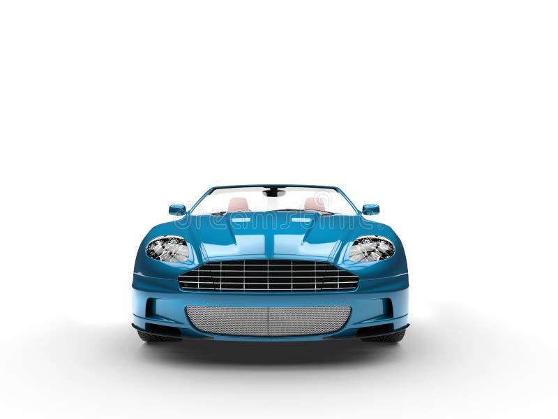 Cyaan convertibele sportwagen - vooraanzicht royalty-vrije stock afbeelding