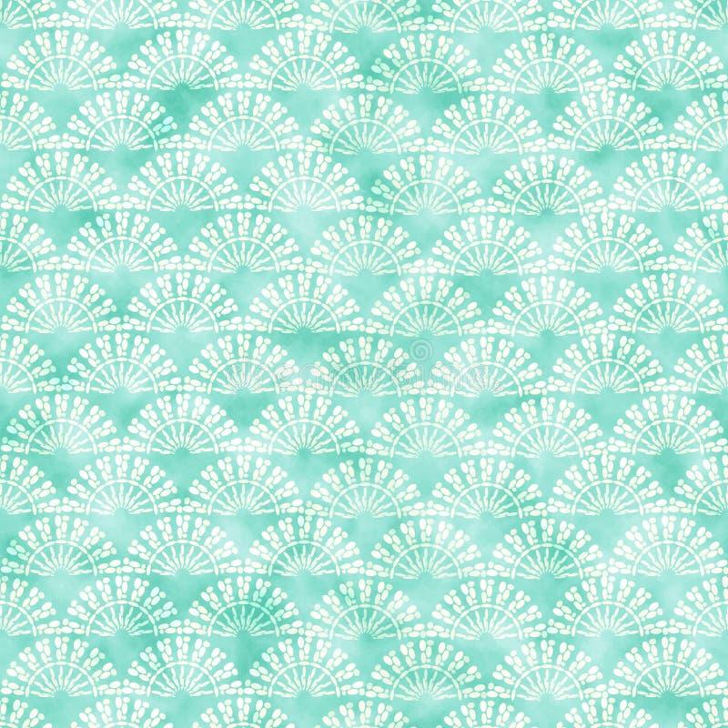Cyaan decoratief watercolored achtergrondpatroon stock illustratie
