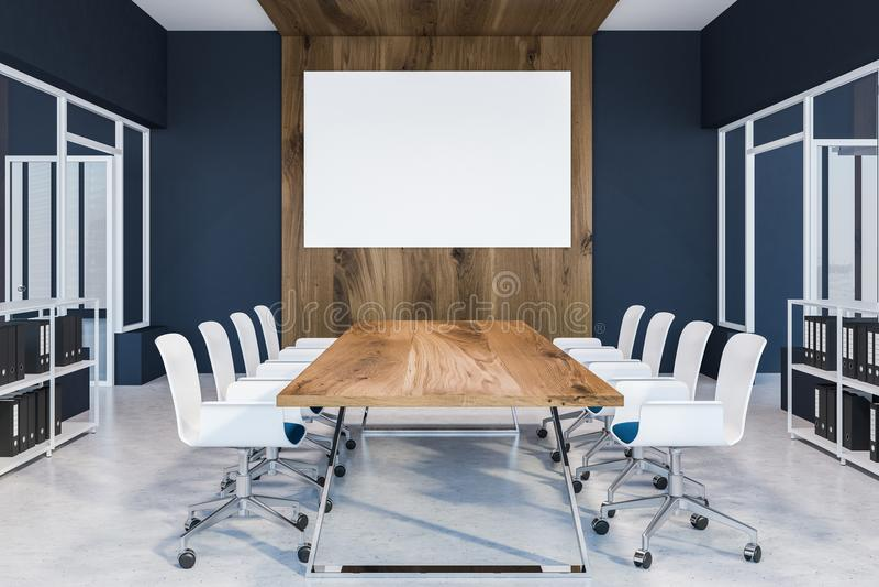 Cyan интерьер конференц-зала, плакат деревянного стола иллюстрация штока