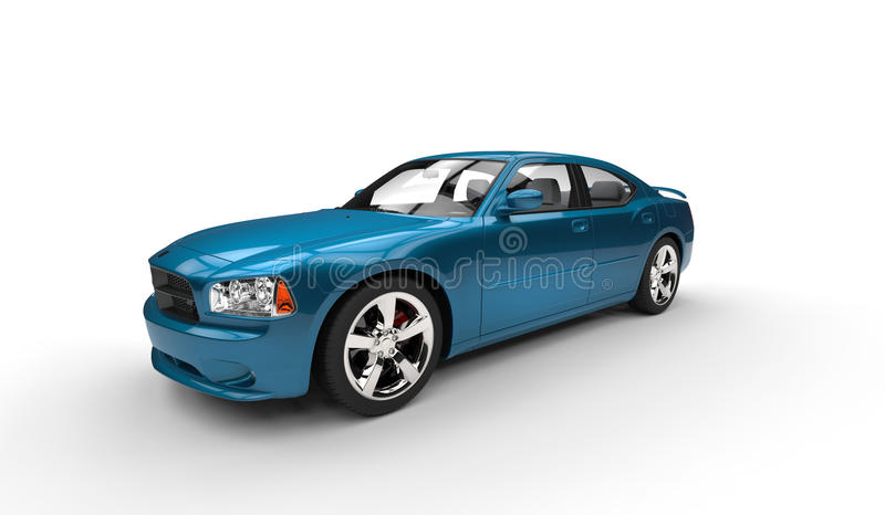 Cyan American Car. Wide Angle royalty free stock photos
