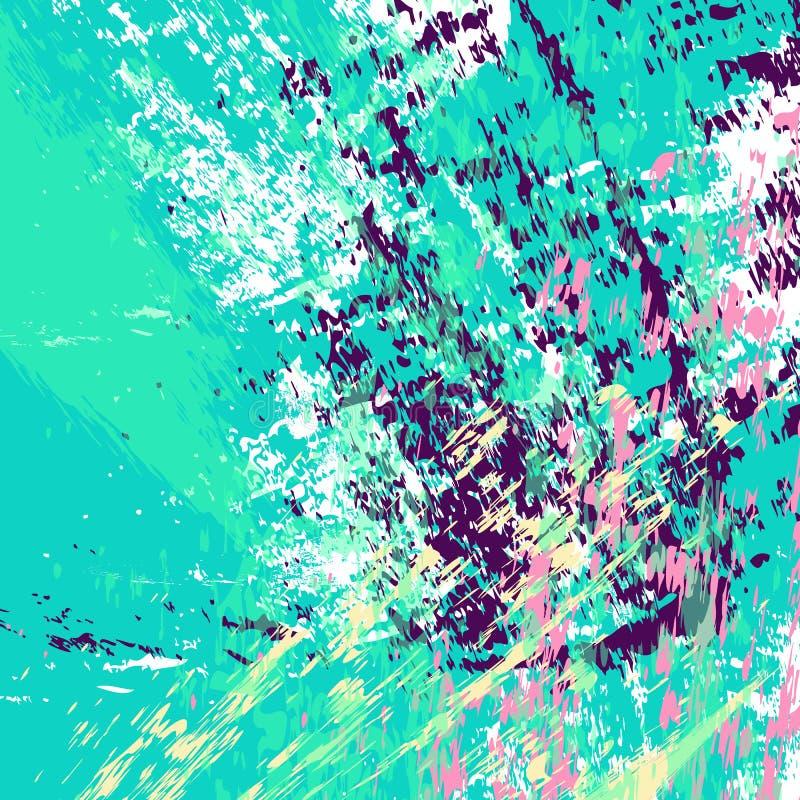 Cyan bakgrund Strimmor, slaglängder, färgstänk och fläckar för hand utdragna mång- kulöra texturerade stock illustrationer