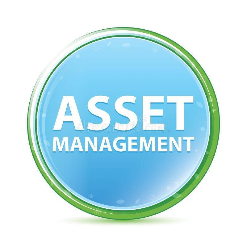 Cyan blå rund knapp Asset Management för naturlig aqua stock illustrationer