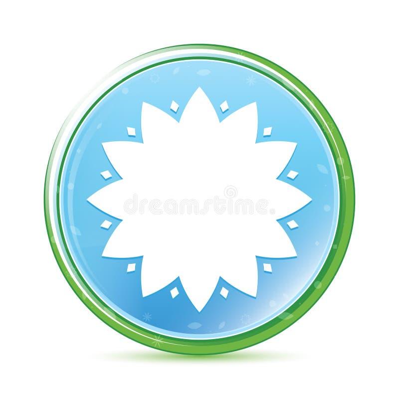 Cyan blå rund knapp för lövrik aqua för blommasymbol naturlig stock illustrationer