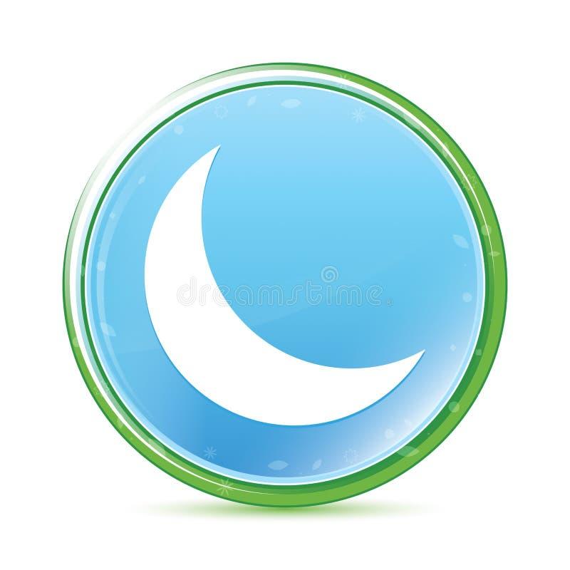 Cyan blå rund knapp för växande aqua för halvmånesymbol naturlig vektor illustrationer