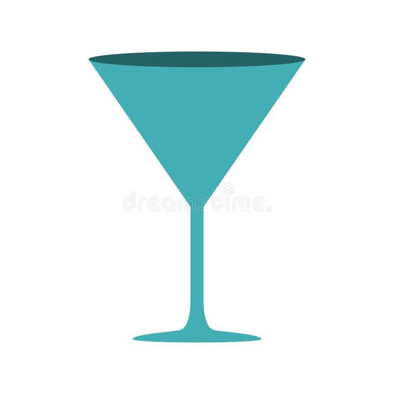 cyan-blaue Farbe des Schattenbildes mit Getränkcocktailglas stock abbildung