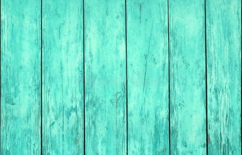 Cyan-blaue Farbe verwitterter Bretterzaun lizenzfreie stockbilder