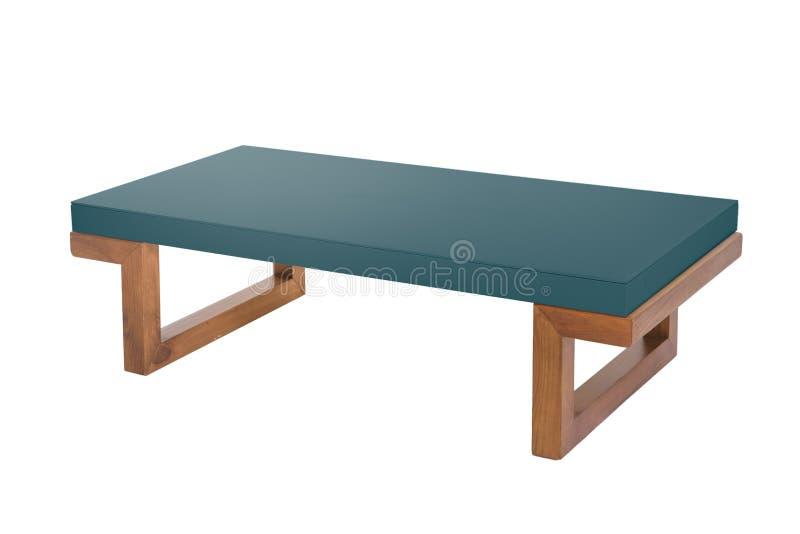 Cyan-blaue h?lzerne moderne Tabelle auf wei?em Hintergrund stockfoto
