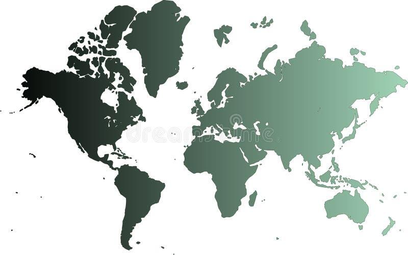 Cyan-blaue Karte der Welt   lizenzfreie abbildung
