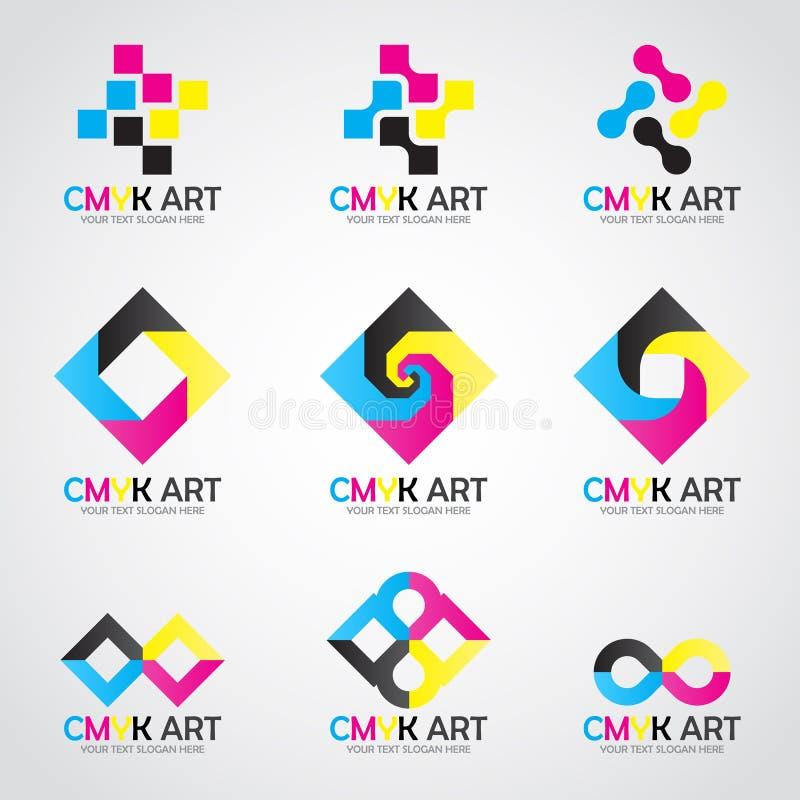 Cyan-blaue und Magentarotes und Gelbe und keyblack Farbe des gesetzten Entwurfs des CMYK-Kunstlogovektors lizenzfreie abbildung