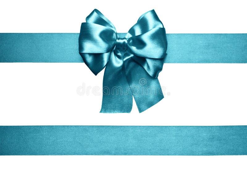 Cyan-blauer Bogen und Band von der Seide lizenzfreies stockbild