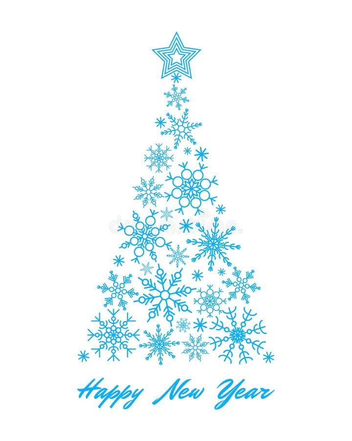 Cyan-blauer Schneeflocke Weihnachtsbaum auf wei?em Hintergrund stock abbildung