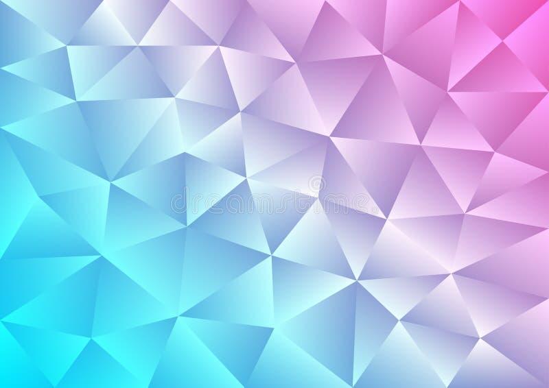 Cyan-blauer und rosa Steigungs-Hintergrund mit polygonalem Muster stock abbildung