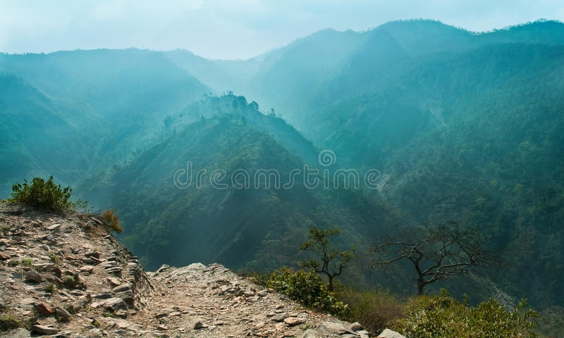 Download Cyan Blue Mountain Ranges In The Haze Stock Image - Image: 31638449