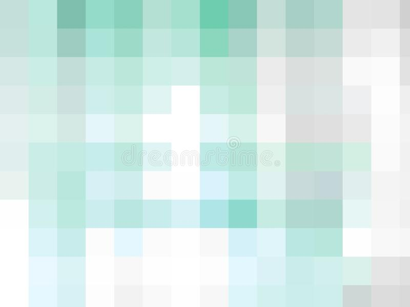 Cyan blue and white pixel squares background. An edited illustration of cyan squares on white with different shades stock image