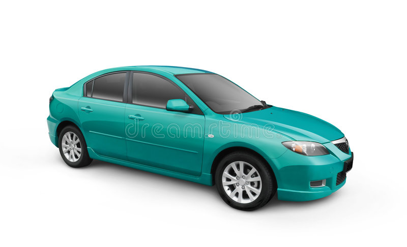 Cyan Car w/ Clipping Path stock illustration