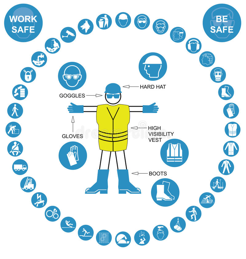Cyan circular Health and Safety Icon collection stock illustration