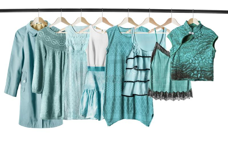 Cyan clothes isolated stock images