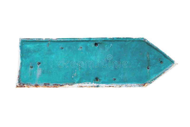 Cyan color arrow shape from a rusty and grunge metal iron plate with peeling coating stock photos