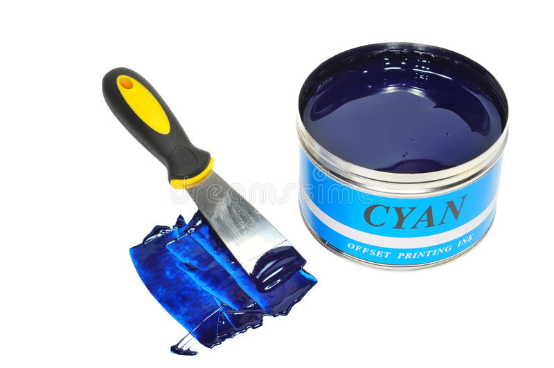 Cyan Color Offset Ink stock photos