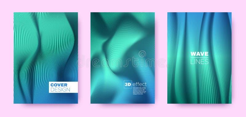 Cyan Flow Banner. Design Covers Set. Business. Lines Pattern. 3d Geometric Illustration. Flow Lines Pattern. Dynamic Covers Set. Turquoise Modern Banner. Cyan stock illustration