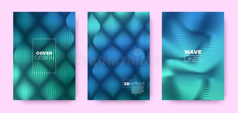 Cyan Flow Banner. Vector Covers Set. Dynamic. Lines Pattern. 3d Geometric Illustration. Flow Vibrant Lines. Dynamic Covers Set. Blue Modern Poster. Mint Flow vector illustration