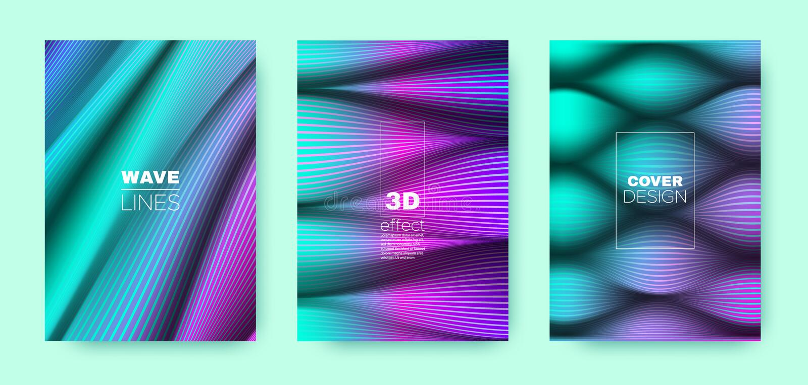 Cyan Flow Concept. Minimal Cover. Dynamic. Background. 3d Geometric Halftone Texture. Fluid Template. Blue Vector Cover. Business Background. Wave Concept royalty free illustration