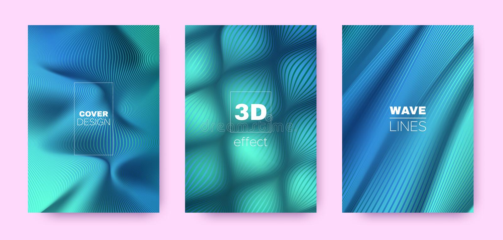 Cyan Flow Poster. Design Covers Set. Movement. Lines Pattern. 3d Geometric Background. Flow Vibrant Lines. Business Covers Set. Green Vector Banner. Blue Flow royalty free illustration