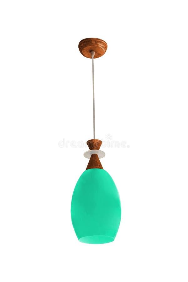 Cyan hanging lamp isolated. On white background stock image